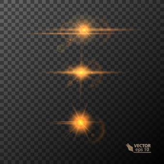 Glowing lights and stars isolated on black transparent background
