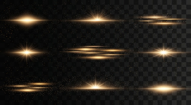 Glowing lights and stars. isolated on  transparent background. set of light explodes. sparkling magical dust particles. bright star, sparkles transparent shining sun, flash  light effect