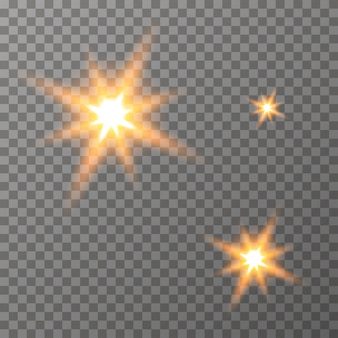 Glowing lights stars on the transparent background vector