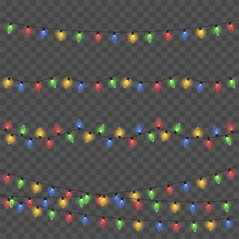 Glowing lights for xmas holiday cards, banners, posters, web design. garlands. vector