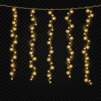Glowing lights for xmas holiday cards string of colorful holiday garland
