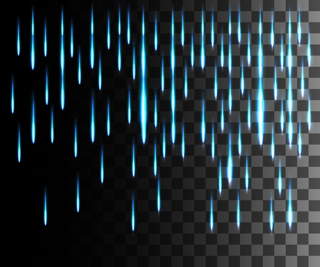輝く線の抽象的な効果。雨の影響。青い線は透明な背景に効果を照らします。