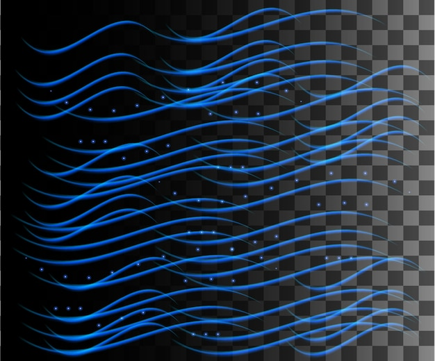 Glowing line abstract effect. rain effect. blue lines light effect on transparent background.