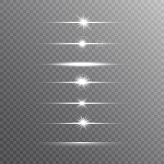 Glowing line set on transparent background