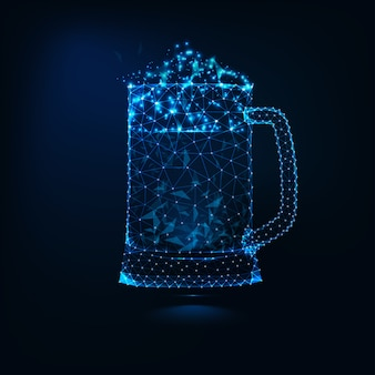 Glowing low poly full glass mug of fresh cold beer