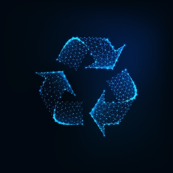 Glowing low poly recycle sign icon made of connected lines