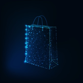 Glowing low poly shopping bag made of stars and lines