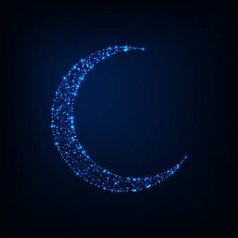 Светящиеся низкой полигональной полумесяц из звезд, линий на фоне темно-синего ночь.