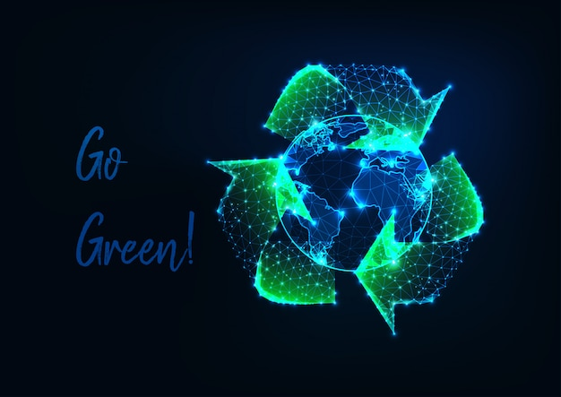 Glowing low polygonal earth globe and green recycle sign