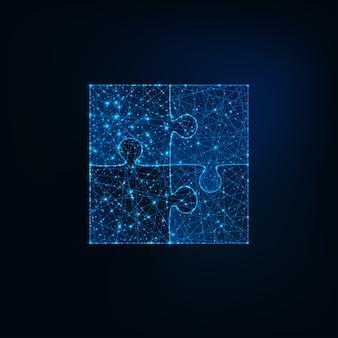 Glowing low polygonal jigsaw puzzle icon
