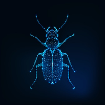 Glowing low polygonal june bug isolated on dark blue background.