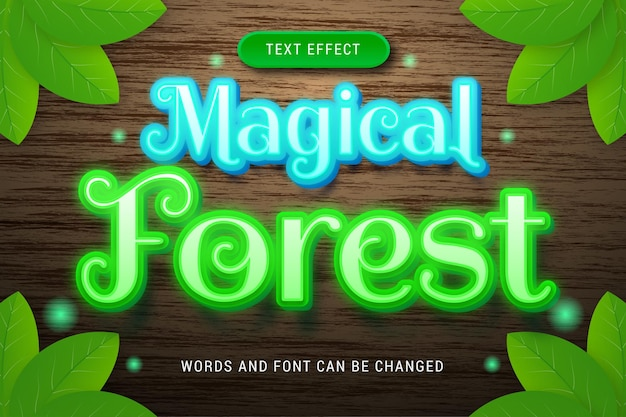 Glowing magical forest text effect isolated on wood background editable eps cc
