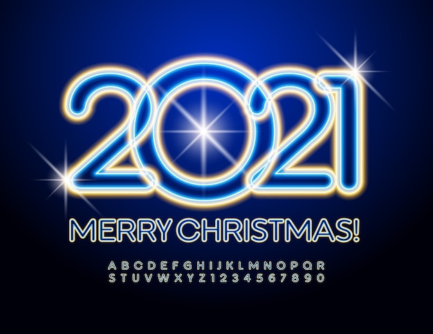Glowing merry christmas 2021. electric font. neon alphabet letters and numbers