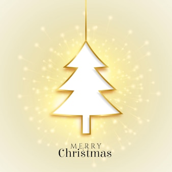 Glowing merry christmas golden tree beautiful card