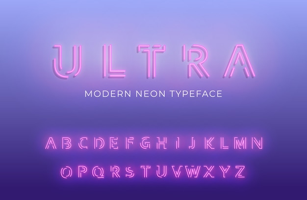 Glowing modern futuristic font typeface