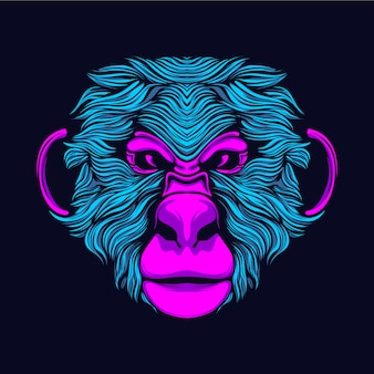 Glowing monkey head