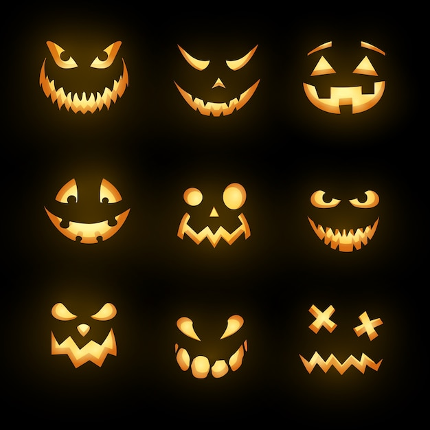 Glowing monster faces isolated icons, halloween horror emoticons.