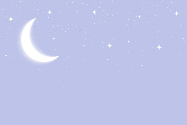 Copyspace와 빛나는 달과 별 배경
