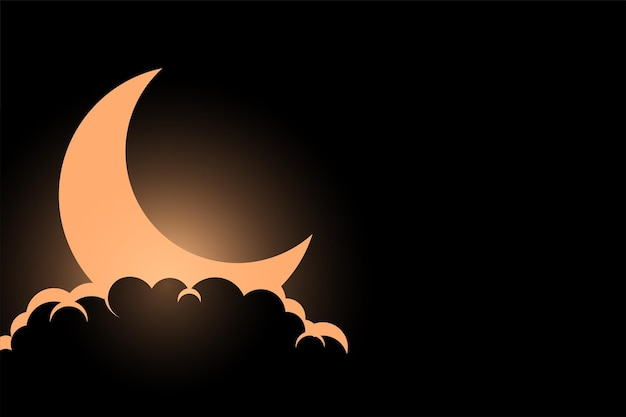 구름 배경 위에 빛나는 달