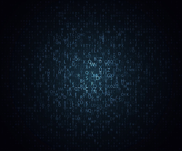 Glowing mosaic of letters on dark background.  abstract vector background. the matrix of letters