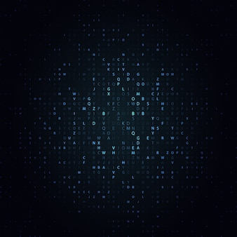 Glowing mosaic of letters on dark background