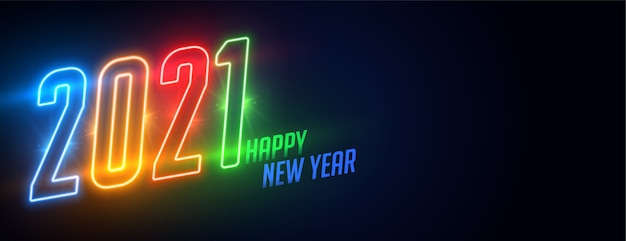 Glowing neon 2021 happy new year shiny banner design