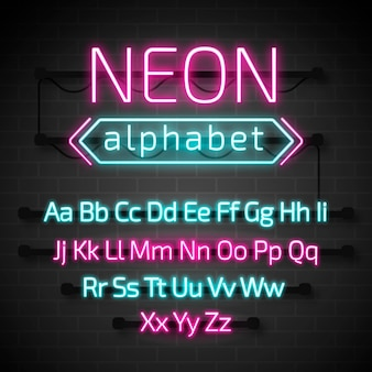 Glowing neon alphabet letters