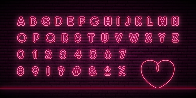 Glowing neon alphabet.