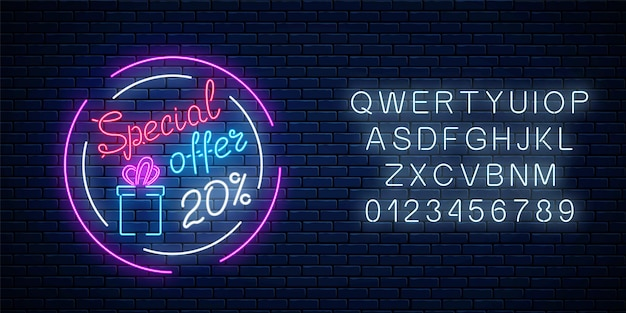 Glowing neon banner of big sale sign with alphabet on dark brick wall background. special offer symbol of spring world women holiday. vector illustration.