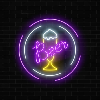 Glowing neon beer bar signboard in circle frame