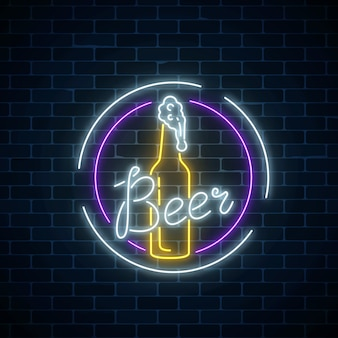Glowing neon beer bar signboard in round frames on dark brick wall background. luminous advertising sign of beer bottle