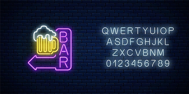 Glowing neon beer bar signboard with arrow and alphabet