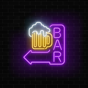 Glowing neon beer bar signboard with arrow on dark brick wall luminous advertising sign