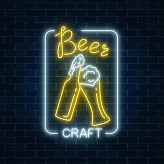 Glowing neon beer craft signboard in rectangle frame on dark brick wall background. luminous advertising sign