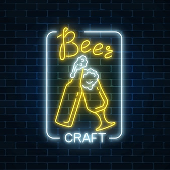 Glowing neon beer craft signboard with glass of beer and bottle. luminous advertising sign of night club with bar.