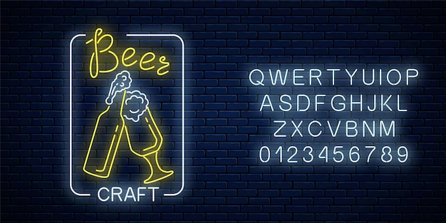 Glowing neon beer craft signboard with glass of beer and bottle in rectangle frame with alphabet on dark brick wall surface. luminous advertising sign of night club with bar. illustration.