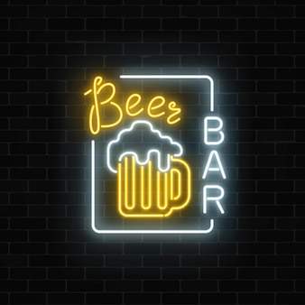 Glowing neon beer pub signboard in rectangle frame on dark brick wall