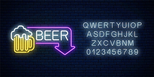 Glowing neon beer pub signboard in rectangle frame with arrow and alphabet on dark brick wall
