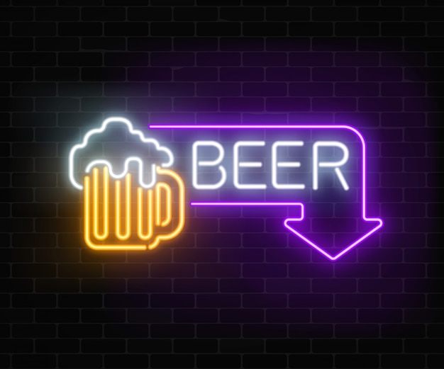 Glowing neon beer pub signboard in rectangle frame with arrow on dark brick wall