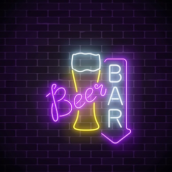 Glowing neon beer pub signboard