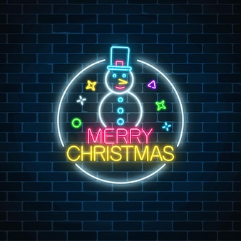 Glowing neon christmas sign with snowman with hat in circle frame.
