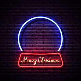Glowing neon christmas snow globe on brick wall.  illustration.