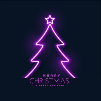 Glowing neon christmas tree background