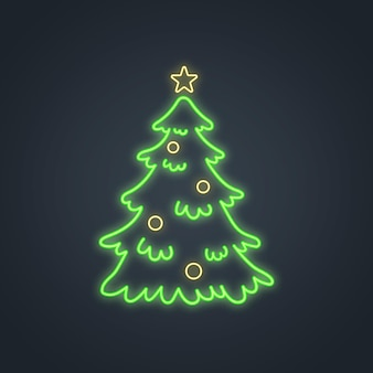 黒に分離された輝くネオンのクリスマスツリー