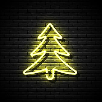 レンガの壁に輝くネオンのクリスマスツリー。図。 Premiumベクター