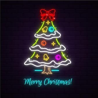装飾が施された輝くネオンのクリスマスツリー
