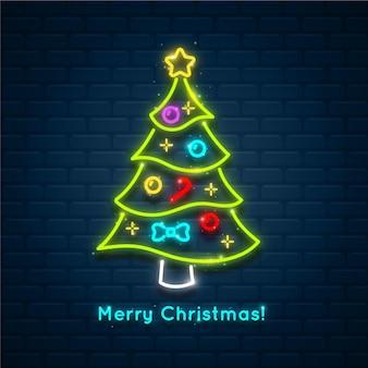 輝くネオンのクリスマスツリー