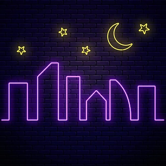 Glowing neon city banner with stars and moon. town symbol poster in neon style with glowing skyscrapers silhouettes.