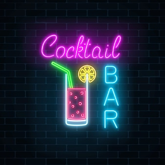 Glowing neon cocktails bar signboard