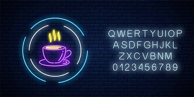 Glowing neon coffee cup sign in circle frames with alphabet on a dark brick wall background. night street advertising signboard of cafe. vector illustration.